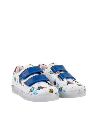 Kids A More Space Çift Cırtlı Işıklı n Pu Deri Erkek Çocuk Ayakkabı  Beyaz